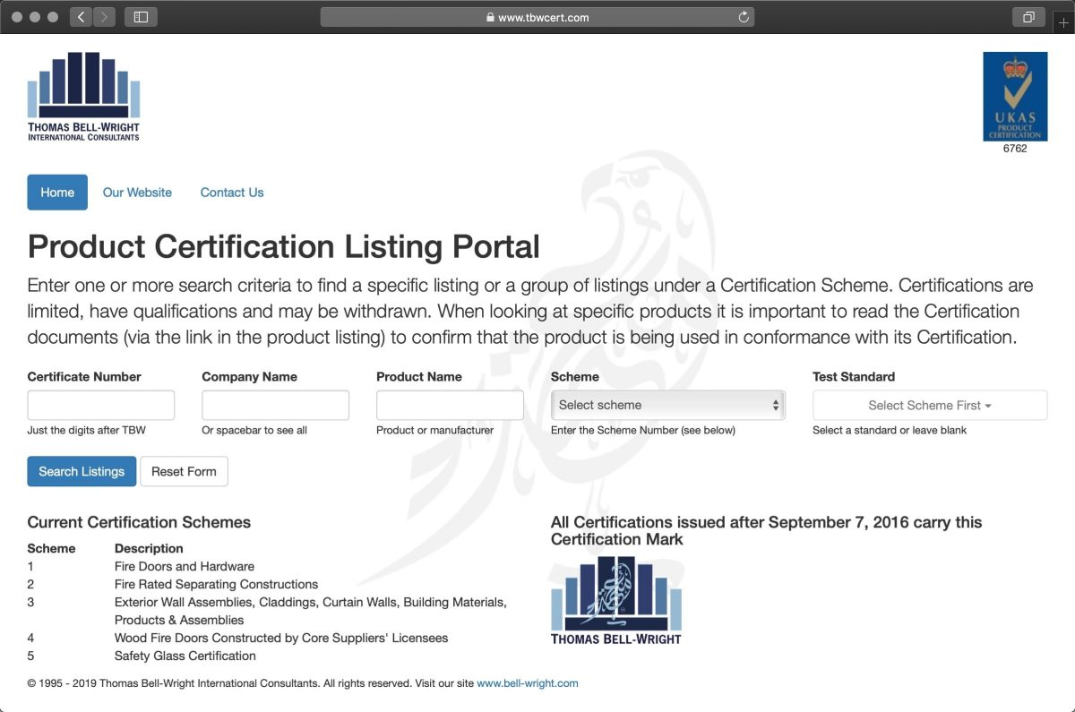 Thomas Bell-Wright Product Certification Listing Portal image
